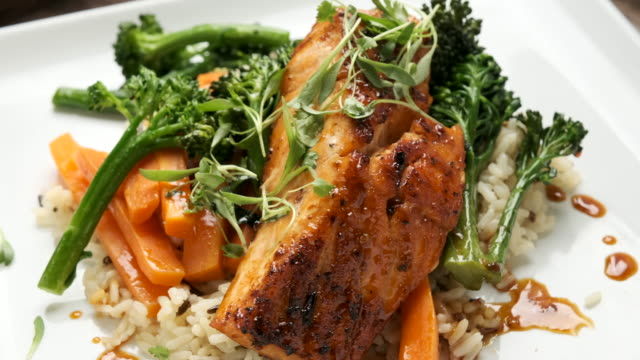 pan seared salmon - grilled salmon stock videos & royalty-free footage