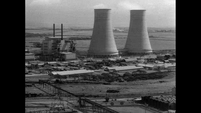 pan sellafield nuclear site and construction of cooling tower; 1956 - 1956 stock videos & royalty-free footage