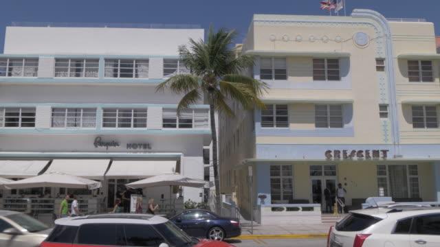 Pan shot of Art Deco buildings on Ocean Drive, Miami Beach, South Beach, Miami, Florida, United States of America, North America