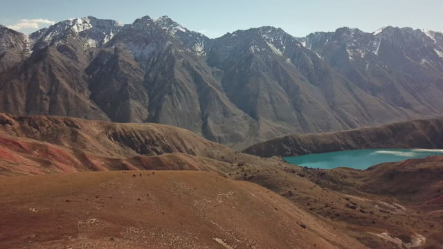 vídeos de stock e filmes b-roll de pan shot of bright blue glacier water filled lake perched on edge of massive mountain range and golden yellow grass covered fields. - water's edge
