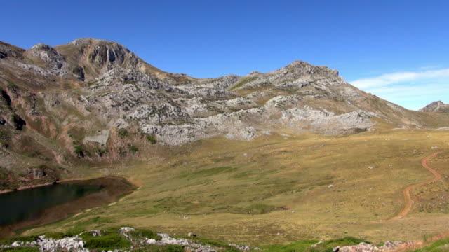 Pan Shot of Lake Cerveriz in Somiedo