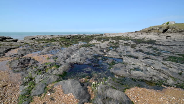 pan shot of rocky coast at low tide at cote de jade - low tide stock videos & royalty-free footage