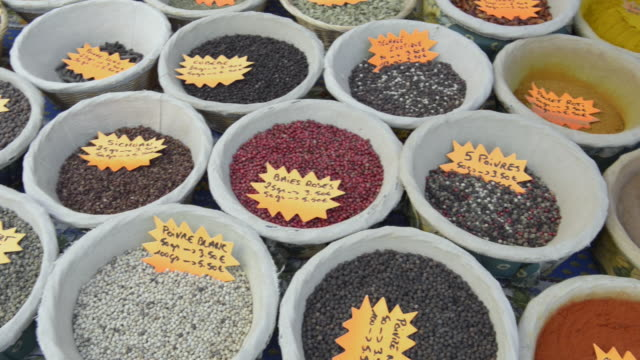 pan shot of spices on street market - apt stock videos and b-roll footage
