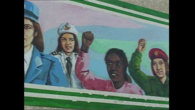 pan shot of wall mural of women in various occupations - women's rights stock videos & royalty-free footage