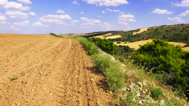 vídeos y material grabado en eventos de stock de pan shot over dry ploughed earth and rolling hills with trees against white clouds in blue sky - estepa