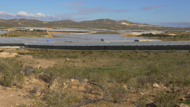 pan shot, plastic greenhouse landscape in Andalucia