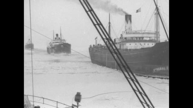 pan six freighters in gulf of finland near reval / eight freighters stuck in ice taken from ship going opposite direction / traveling shot of ships... - baltic sea stock videos and b-roll footage