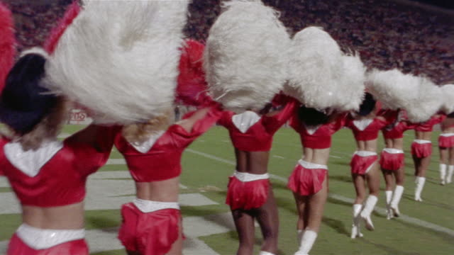1985 sm ms pan tampa bay bandits cheerleaders entering field/ tampa, florida  - cheerleader stock videos & royalty-free footage