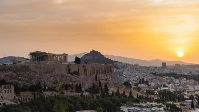 TL R Pan The Acropolis of Athens at sunset, day to night