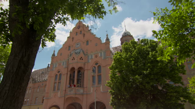 vidéos et rushes de pan through tree foliage to the top of the fa�ade of town hall in kecskemet - roche