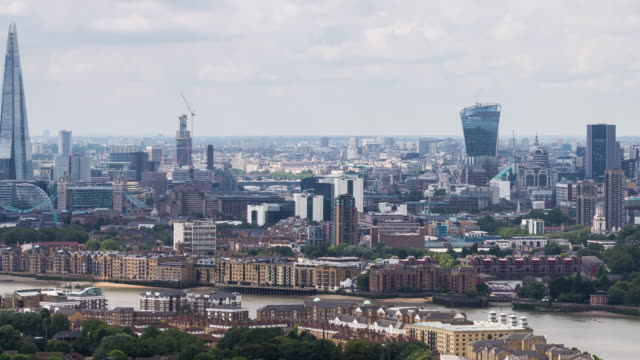 LONDON - CIRCA 2014: Pan Time Lapse of London Skyline during day from a high point of view