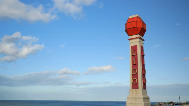 pan to margate lido sign, uk - western script stock videos & royalty-free footage