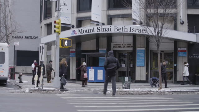 Pan To Mount Sinai Beth Israel Hospital In Nyc Stock Footage