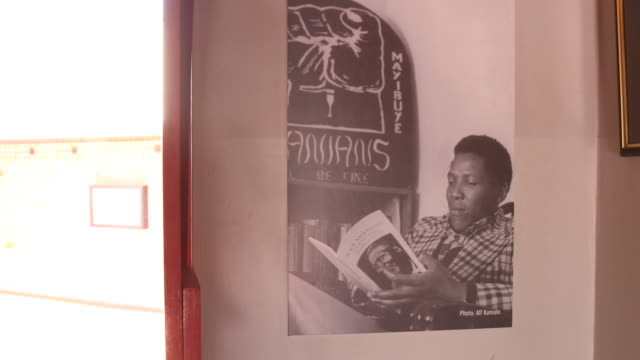 vídeos y material grabado en eventos de stock de a pan to the right and a close up on an enlarged black and white picture of the young nelson mandela reading a book hanging on an interior wall of... - biografía