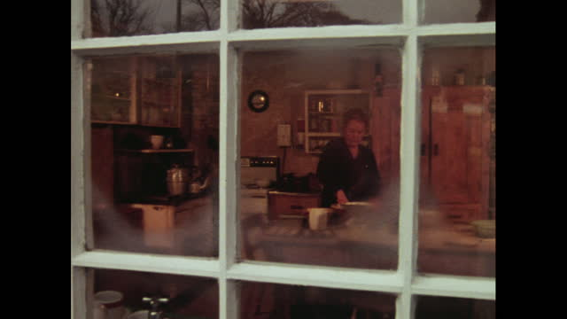 pan to view of woman in domestic kitchen through window - cosy stock videos & royalty-free footage