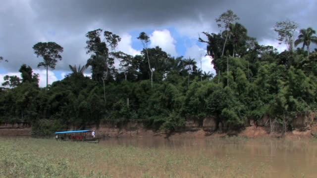 WS pan tourboat on river/ Manu National Park, Peru