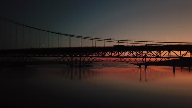 stockvideo's en b-roll-footage met pan under forth bridge at sunrise - firth of forth