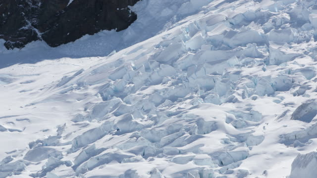 pan up a large glacier over crevasses in antarctica - crevasse stock videos & royalty-free footage