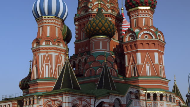 pan up st. basil's cathedral - st. basil's cathedral stock videos and b-roll footage