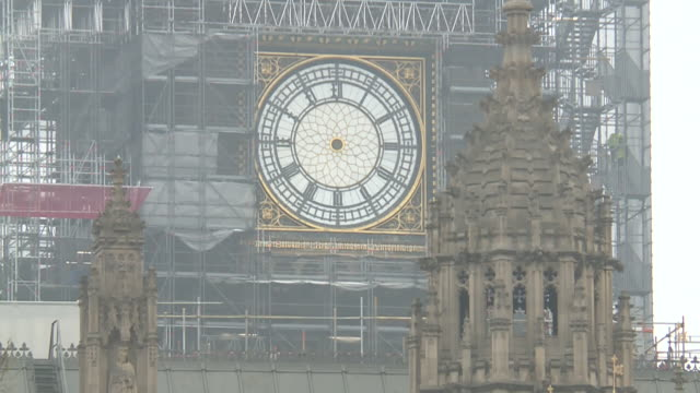 Pan up to show Big Ben with the clock hands removed