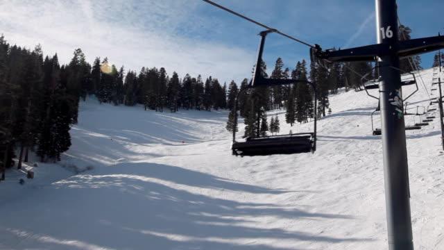 pan upward: 16th post of the ski lifts of mountain - ski pole stock videos & royalty-free footage