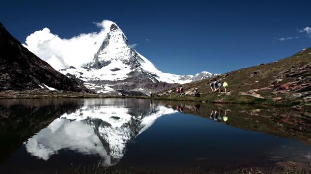 Pan view of Matterhorn and lake