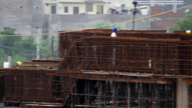 A pan view of the construction activity for the upcoming Gurgaon Rapid Metro
