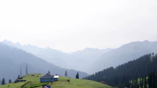 a pan view of the treeline below  visible from the evelvated lush green meadows of the upper himalayas in kashmir - 山小屋点の映像素材/bロール