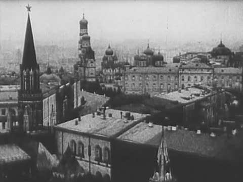 pan wide angle shot of kharkiv city in 1920 - guglia video stock e b–roll
