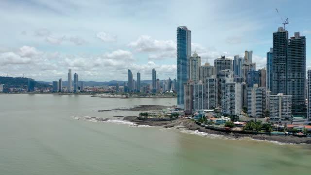panama city aerial from the sea - panama city panama stock videos & royalty-free footage