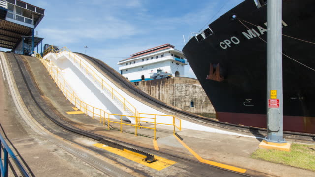 Panama, Container ship transiting the  Miraflores Locks on the Panama Canal