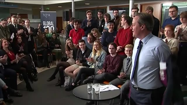 David Cameron admits he did have a stake in his father's offshore trust ENGLAND Devon University of Exeter INT David Cameron MP taking off his jacket...