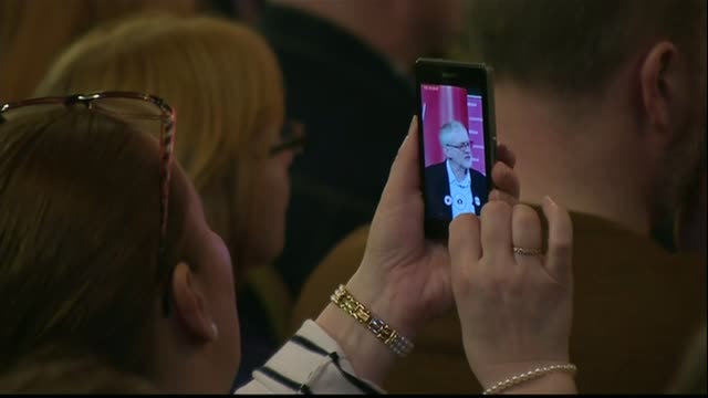 david cameron's tax returns to be published scotland edinburgh int various of jeremy corbyn mp at podium woman photographing corbyn on phone screen... - edinburgh stock videos and b-roll footage