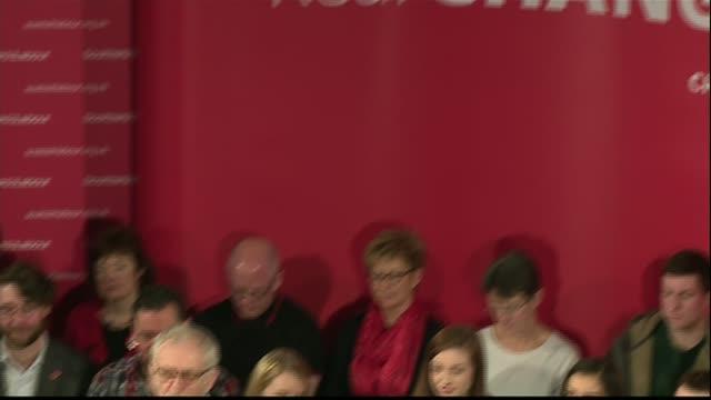 Jeremy Corbyn interview Cutaways Jeremy Corbyn speech SOT Kezia Dugdale MSP and Neil Coyle MP in audience