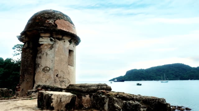 panama portobelo turret view - colon stock videos and b-roll footage