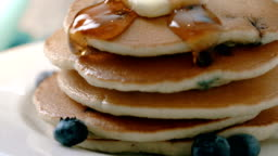 Pancakes Macro Maple Syrup Pour