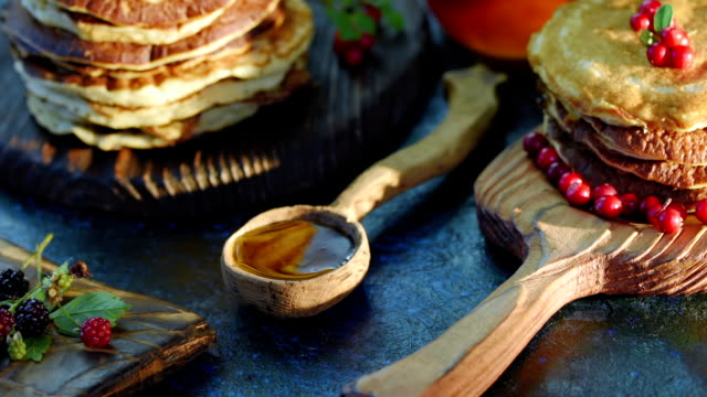 pancakes with syrup and berries - brambleberry stock videos & royalty-free footage