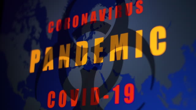 """pandemic"" appearing on world map graphic. coronavirus pandemic covid-19 theme. - capital letter stock videos & royalty-free footage"