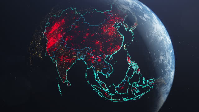 pandemic earth model with asia glowing red. multiple of disease - biomedical illustration stock videos & royalty-free footage