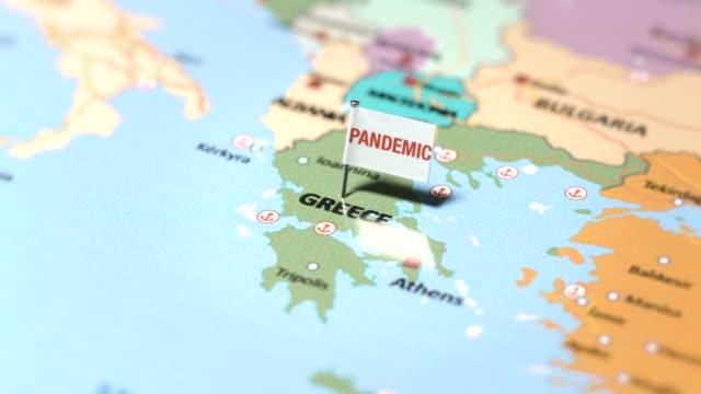 ギリシャのパンデミック旗 - ギリシャ国旗点の映像素材/bロール