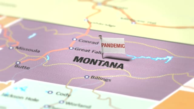 pandemic flag on montana - montana western usa stock videos & royalty-free footage