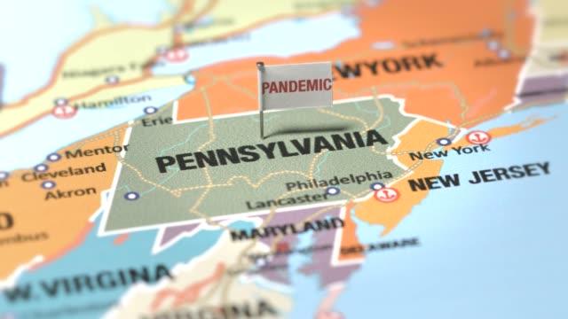 vídeos y material grabado en eventos de stock de bandera pandémica en pensilvania - pensilvania