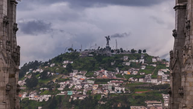 panecillo virgin timelapse from the cathedral in quito ecuador