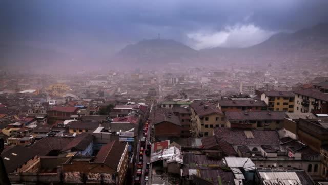 panecillo virgin timelapse with rain in quito ecuador - ecuador stock videos & royalty-free footage