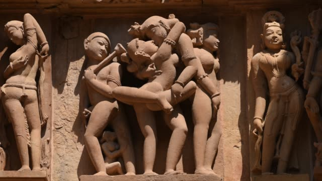 panels of erotic sculptures of loving couples, khajuraho temple, unesco world heritage site, india. - ancient stock videos & royalty-free footage