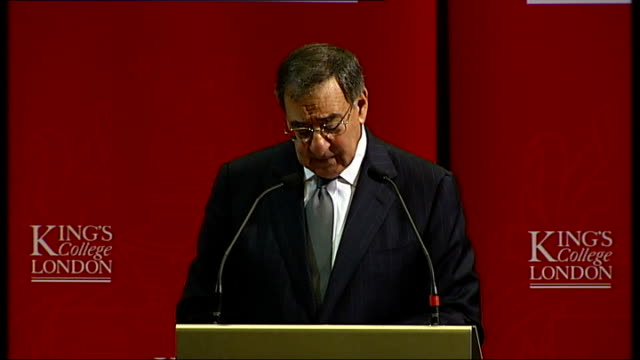 panetta speech at king's college, london; - i know that our so-called pivot to asia has evoked concerns in europe about whether america was turning... - キングスカレッジ点の映像素材/bロール