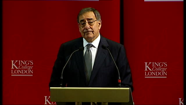 panetta speech at king's college, london; - today, as i come to the end of a week-long trip that has taken me to a number of european capitals --... - キングスカレッジ点の映像素材/bロール