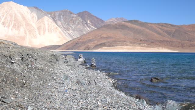 Pangong Lake with mountain and blue sky, Leh Ladakh, Jammu and Kashmir, India