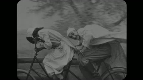 1916 panicked couple cycle to pier with dog - slapstick comedy stock videos & royalty-free footage