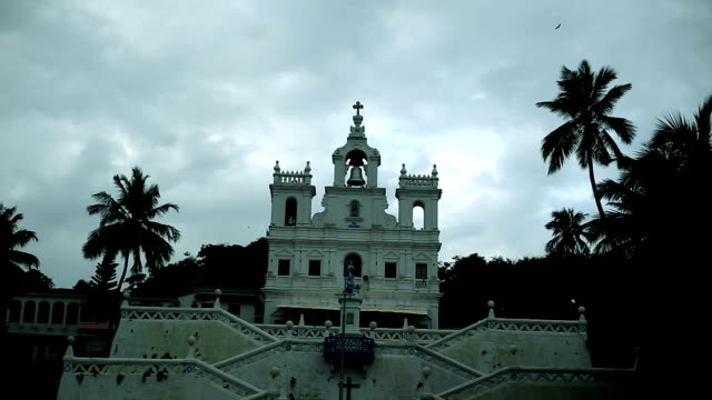 panjim church, our lady of the immaculate conception church in panjim, goa - christianity stock videos & royalty-free footage
